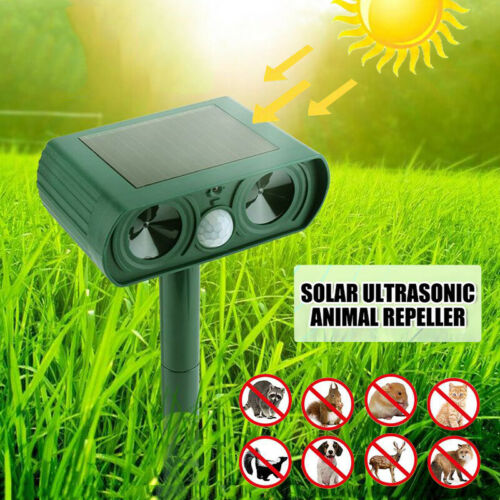 Solar Powered Animal Repeller Ultrasonic Outdoor Bird Pest Cat Mice Deer Sensor