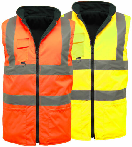 Hi Vis Viz Visbility Reversible Reflective Fleece Lined Gilet Bodywarmer