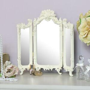 Dettagli su Piccolo Rose Color Panna Triplo Specchio Camera da Letto Vanità  Toletta Stile