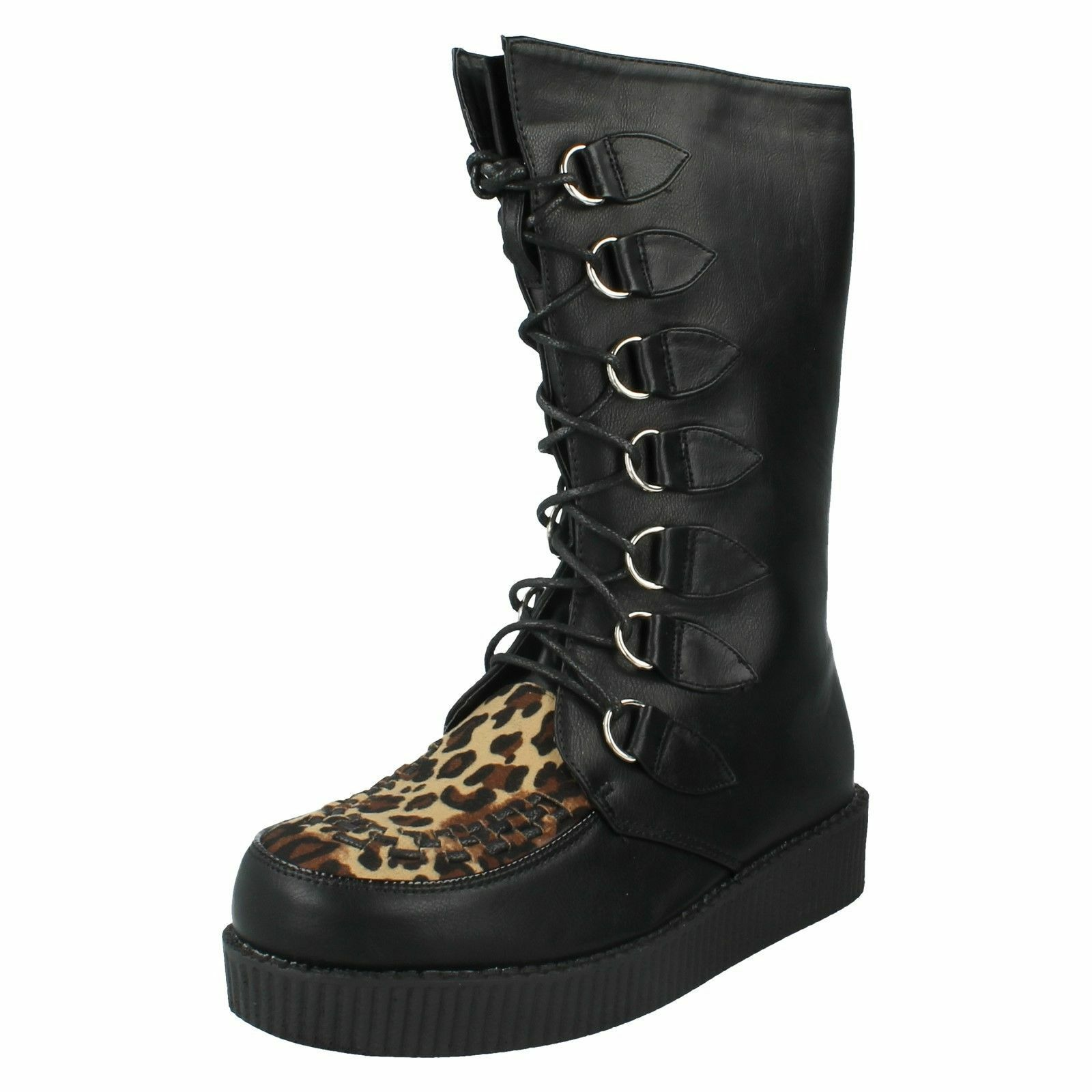 SALE Ladies Spot On black synthetic mid calf boots with leopard print F50018
