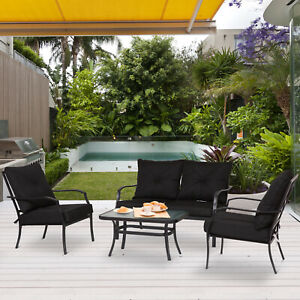 4pcs-Garden-Sectional-Loveseat-Chairs-Table-Furniture-Steel-w-Cushion-Black