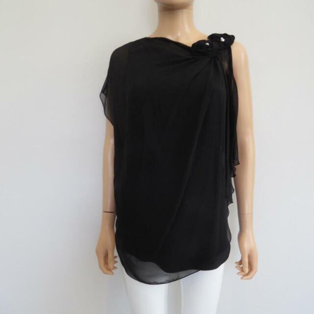 1fb5f16bbf92 Lanvin Black Silk Rosette/Pearl Draped Layered Sleeveless Blouse/Top Size 38