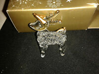 CHRISTMAS TREE DECORATION ~ GLASS CLEAR & GOLD REINDEER