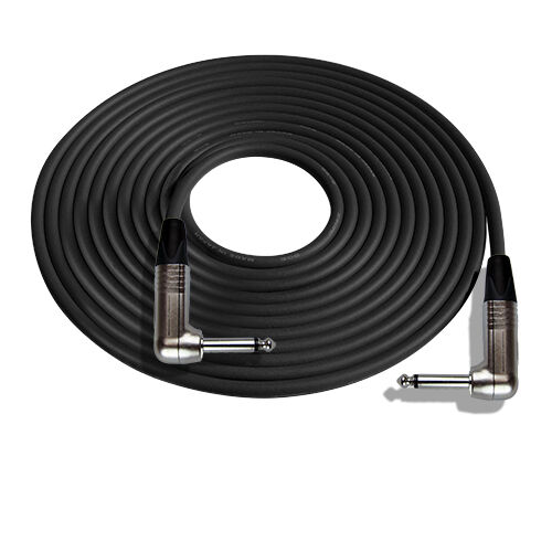 Nickel Contacts 25/' Mogami W2524 Guitar Black Cable w//Neutrik RA-RA