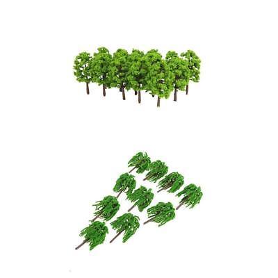 100Pcs Model Trees Green 8cm 1//150 N for Train Roadway Scenery Building Accs