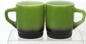 Set-of-2-Anchor-Hocking-Fire-King-Avocado-Green-amp-Black-Coffee-Mugs-Vintage
