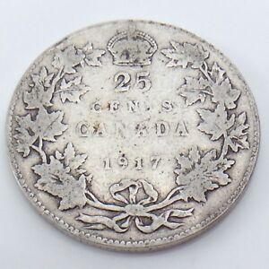 1917 Canada 25 Cent Silver Coin.