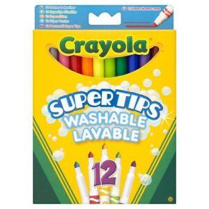 12-x-Crayola-enfants-coloration-Supertips-Childrens-Marqueurs-Feutres-crayons-de-couleur