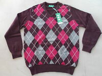 Hawick Knitwear Golf Pullover Lambswool Medium Black Grape