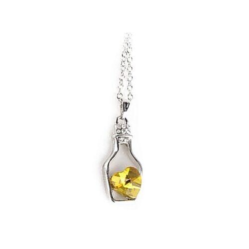 Yellow Heart Gem Drift Bottle Necklace on Chain Metal Silver Jewellery New