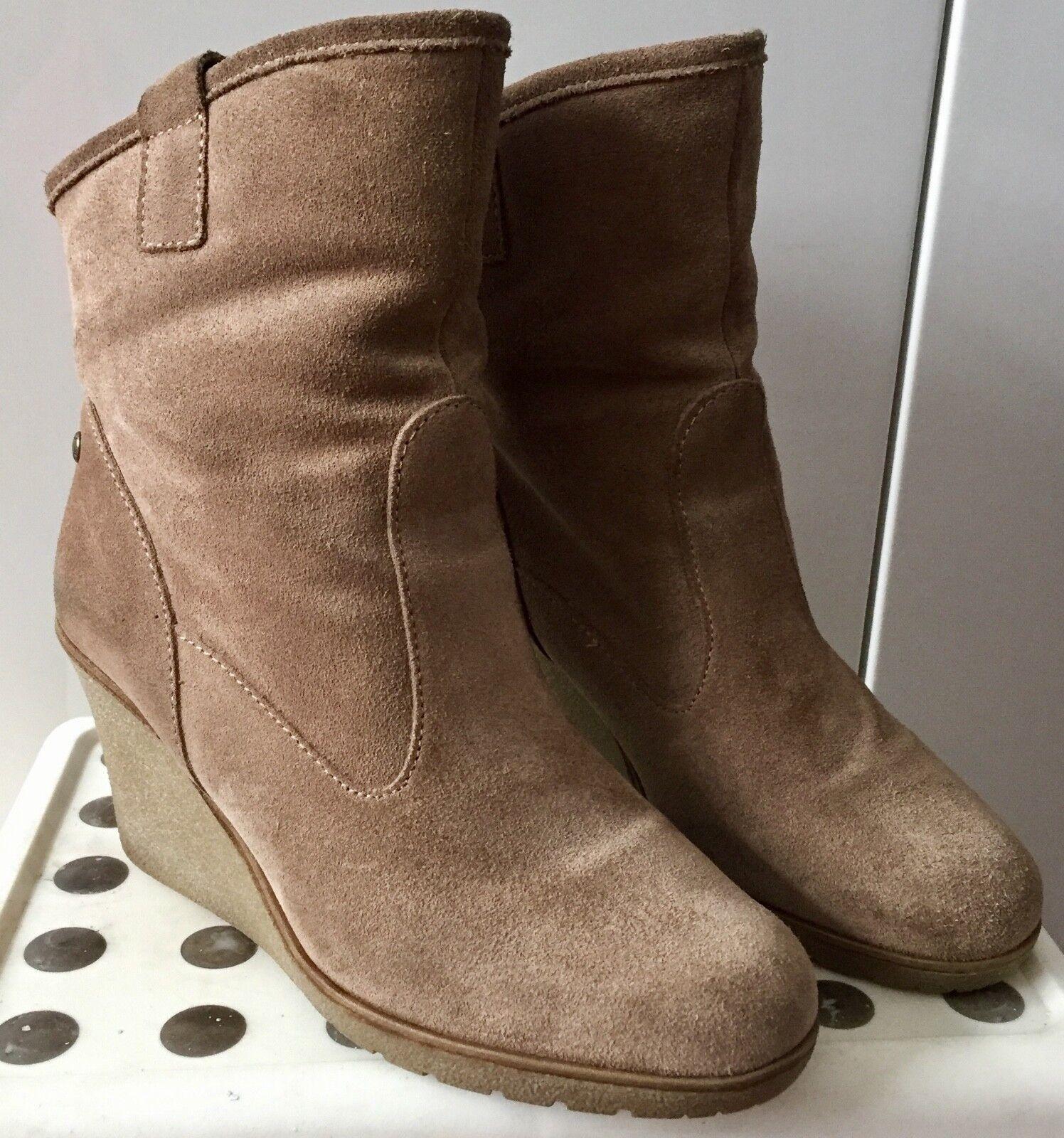 Mexx -  - Winter Stiefel mit Keilabsatz und Fell - Mexx echtes Veloursleder, Gr. 39 b6c5b2