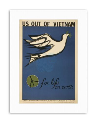 PROTEST PEACE DOVE VIETNAM WAR STUDENT CONFERENCE Poster Military Canvas art