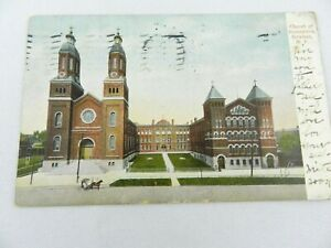 Postcard-NY-Syracuse-Church-of-the-Assumption-Vintage-New-York-Posted-1907-PC