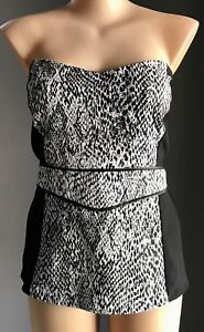 30d0632dd8a CITY CHIC Black   White Snake Print Strapless Top Plus Size XL(22 ...