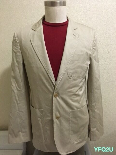PATRIK ERVELL NEW YORK SZ-40 KHAKI 2-BUTTON UNSTRUCTURED BLAZER S S 2011