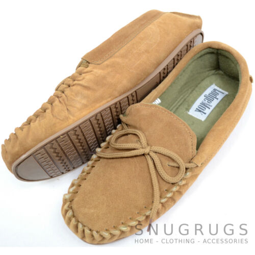 Mens Traditional Genuine Suede Leather Moccasin Slippers with Rubber Sole