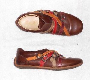 6abfa49398a039 KICKERS ballerines cuir marron brides multicolores P 37 TBE | eBay