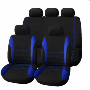 9PC UNIVERSAL LIGHT FULL CAR SEAT COVERS SET PROTECTORS WASHABLE IN