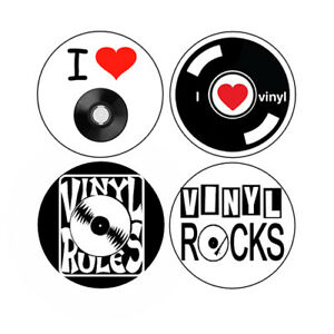 I Love Vinyl Button Set Record Music 45 78 Retro Pins