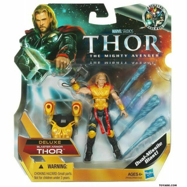 """THOR  Deluxe Blaster Armor 4/"""" Action Figure with Hammer Gift for kids Marvel NEW"""