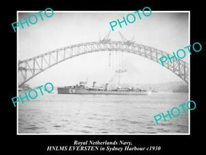 OLD-8x6-HISTORIC-PHOTO-OF-ROYAL-DUTCH-NAVY-SHIP-HNLMS-EVERSTEN-IN-SYDNEY-1930
