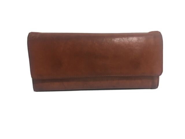 Hobo International Sadie Trifold Brown Leather Wallet Clutch w/ Coin Purse