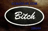 Bitch Oval White On Black Small Badge For Biker Vest Jacket Motorcycle Patch