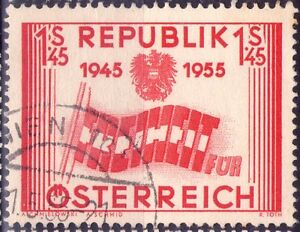 AUSTRIA-OSTERREICH-10-ANNIVERSARIO-REPUBBLICA-RARO-FRANCOBOLLO-1955