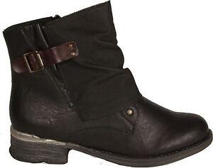 RIEKER Schuhe Stiefeletten Schwarz Biker Style Reißverschluss Stoffutter NEU