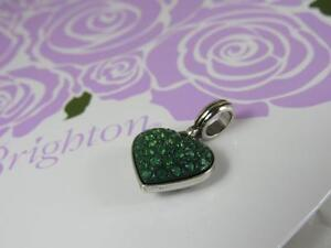 Brighton-Cupids-Kiss-green-silver-reversible-Heart-Charm-Bead-NWOT