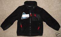 Boy's Snozu Jacket Black Fleece Xs 5/6 Red Zip Pockets Satin Look Patches