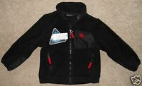 Boy's Snozu Jacket Black Fleece Xs 5/6 Red Zip Pockets Satin Look Patches