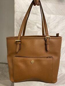 Michael Kors Brown Saffiano Leather Tote Office Shoulder Purse Bag Card Slots