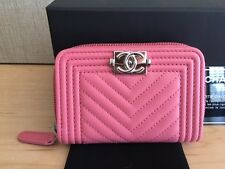 Auth Chanel Boy Zip Coin Card Case Wallet Pink Chevron Lambskin with Silver