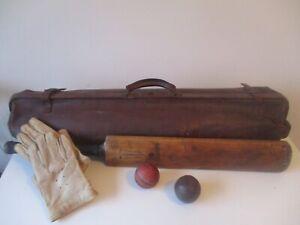 Antique-Cricket-set-Bag-Gunn-amp-Moore-Autograph-Bat-Frank-Bryan-Gloves-2-balls