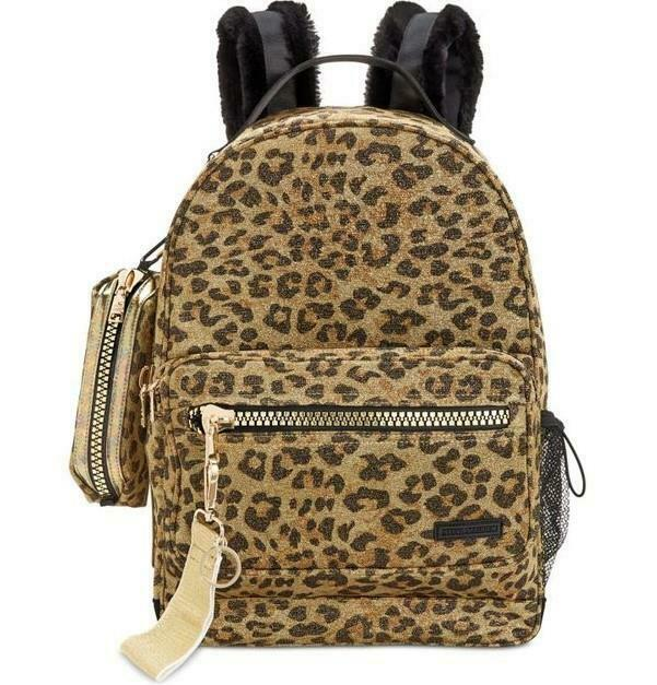 Steve Madden Women's Rascal Leopard Backpack With Pencil Case NWT MSRP $98 A1