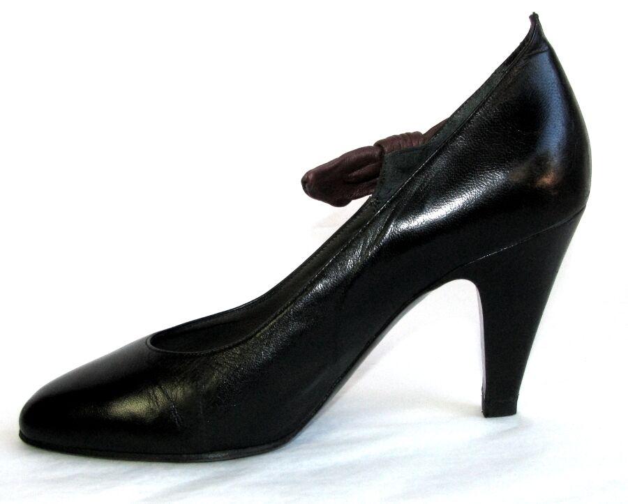 RENE COTY - - Escarpins vintage tout cuir cuir noir marron 35.5 - - TRES BON ETAT 22fa1e