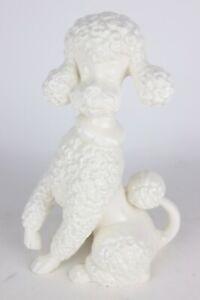 Vintage-White-Ceramic-Poodle-Dog-Art-Pottery-Signed-034-MED-1962-034-10-034-Tall-Figurine