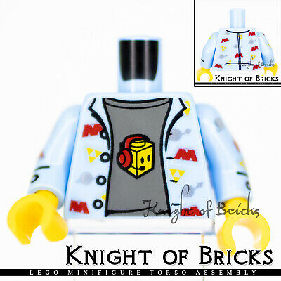 Lego Bright Light Blue Torso Shirt Space Theme Logos Dark Bluish Gray T-Shirt Pa