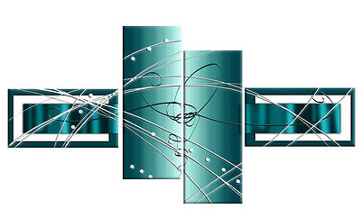 LARGE DUCK EGG BLUE GREY WHITE ABSTRACT CANVAS WALL ART MULTI 4 PANEL 146cm