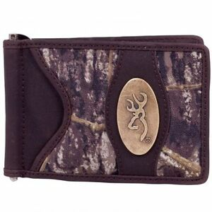 Browing-Mossy-Oak-Camo-Leather-Trimmed-Money-Clip-Men-039-s-Camouflage
