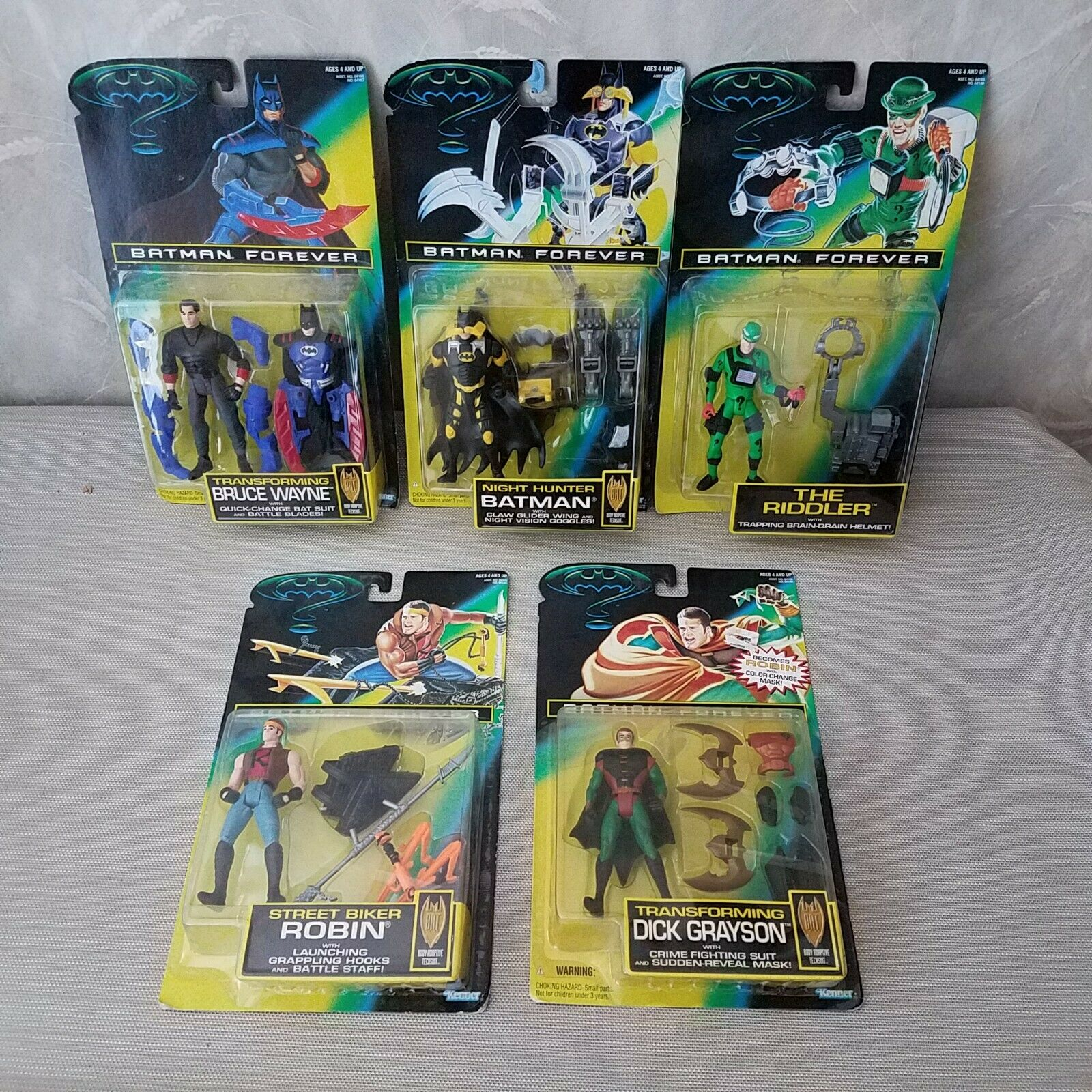 Kenner BATMAN Forever Night Hunter Batman Riddler Bruce Wayne lot Action Figures