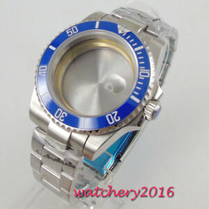 40mm-PARNIS-blau-Keramik-Luenette-Saphirglas-Watch-Case-Fit-8215-2836-Bewegung