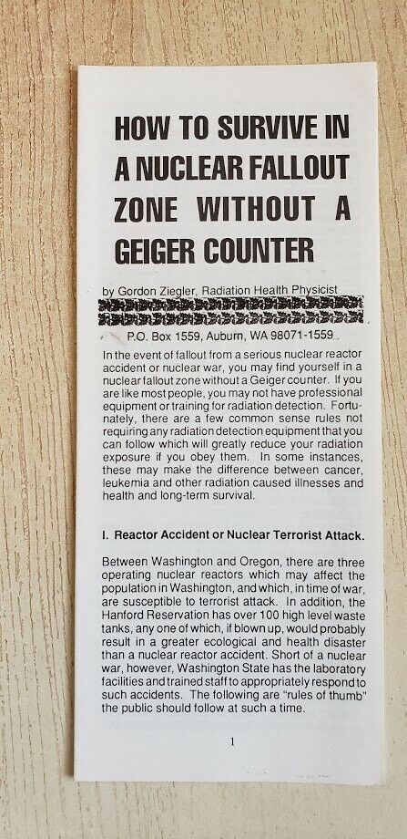 s l1600 - How To Survive In A Nuclear Fallout Zone Without A Geiger Counter - G. Ziegler