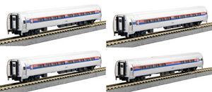 Kato-N-106-8011-Amtrak-Amfleet-I-Phase-I-Four-Passenger-Car-Set-In-Bookcase-New