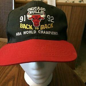 53cb69bc8b6 Chicago Bulls Back To Back NBA Champions 91 92 1991 1992 Hat Cap ...