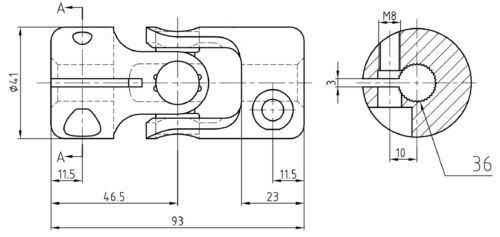 """Chrome Steel Cylindrical Universal Joint 9//16/"""" 36 Splines Ford Kit Car"""