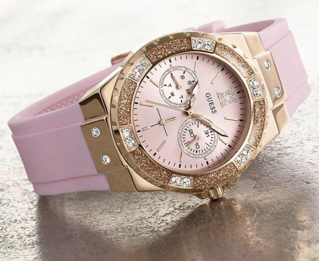 de752f63c6510 GUESS Women s Iconic U1053l3 Rose-gold Silicone Japanese Quartz Fashion  Watch