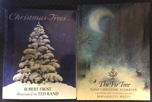 2-Christmas-TREE-Bks-ROBERT-FROST-HB-DJ-amp-HANS-CHRISTIAN-ANDERSEN-FIR-TREE