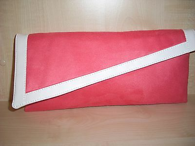 CORAL /& IVORY  faux suede asymmetrical clutch bag fully lined UK made